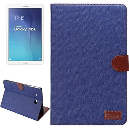 GLXC AYCD Denim Texture Horizontal Flip Color Sólido Funda de Cuero con tragamonedas y Soporte de Tarjetas para Galaxy Tab E 9.6 / T560 (Negro) (Color : Dark Blue)