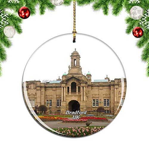 Weekino Großbritannien England Cartwright Hall Bradford Weihnachtsdekoration Christbaumkugel Hängender Weihnachtsbaum Anhänger Dekor City Travel Souvenir Collection Porzellan 2,85 Zoll