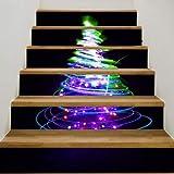 WZhen Fantasía Árbol De Navidad Impreso Pegatinas De Escalera Decorativas - Colorido 6Pcs: 39 * 7 Pulgadas (Sin Marco)