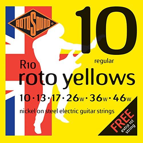 Rotosound R10 - Juego de cuerdas para guitarra eléctrica de níquel, 10 13 17 26 36 46, paquete de 7