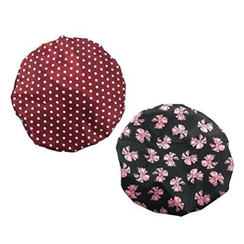 Lurrose 2pcs bonnet de douche double couche impression bowknot point imperméable lavable coiffes bonnet de bain pour femmes filles