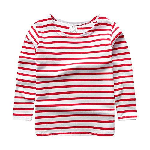 ggudd Niño Manga Larga Camiseta A Rayas Elástica Ropa por 2-7 años (Rojo&Blanco, 4-5 años)