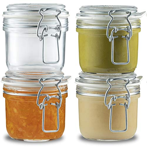 Bormioli Rocco Small Glass Fido Jars - 6¾ Ounce (4 Pack) hermetic Sealed Airtight hinged lid for Kitchen Storage, Dry Food Storage Containers, Jelly, DIY Projects, Spices, With Paksh Chalkboard Labels