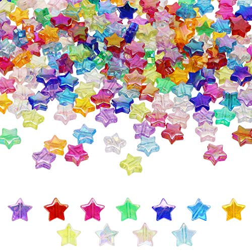 Tupalizy 330PCS Mini AcrylicStar Beads 11mm AB Color Star Charms for Jewelry Making Bracelets Necklaces Earrings Key Chains Accessories DIY Crafts Valentine's Day Christmas Birthday Gifts, 11 Colors
