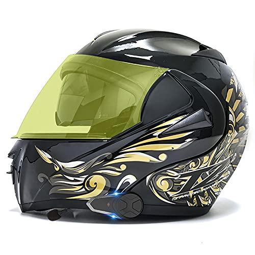 Casco de motocicleta con Bluetooth abatible hacia arriba, casco completo modular con visera solar doble tipo abatible, intercomunicador ECE/DOT Racing Crash Helmets Built-In Mp3 FM H,S=55-56CM