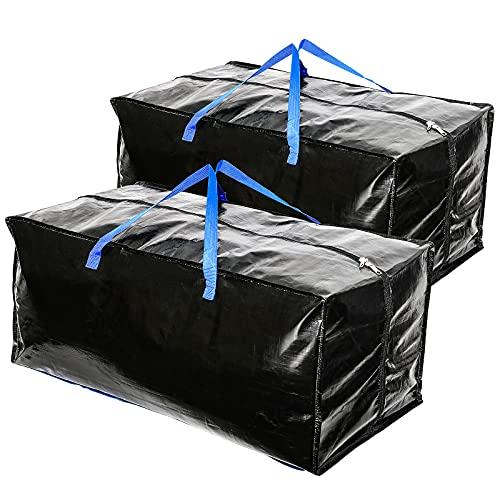 2 bolsas de almacenamiento impermeables con correa para mochila, asa, cremallera para moverse, viajar, acampar, herramientas de jardinería, almacenamiento de decoraciones navideñas, 80x40x35 cm, negro