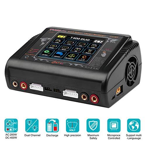 Haisito Lipo Ladegerät 1-6S Touchscreen Doppelentlader AC200W DC400W 12A T400 Pro Hochpräzises Schnellladegerät für RC Li-Ionen Lebensdauer NiCd NiMH LiHV PB Smart Batterie