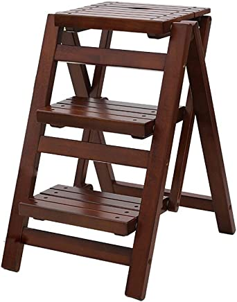 Folding Step Stool Wooden Bar Chair High And Low Stools Change Shoes Stool Shelf Flower Stand  Three Step Ladder  Size 32 5x42 5x65 5cm
