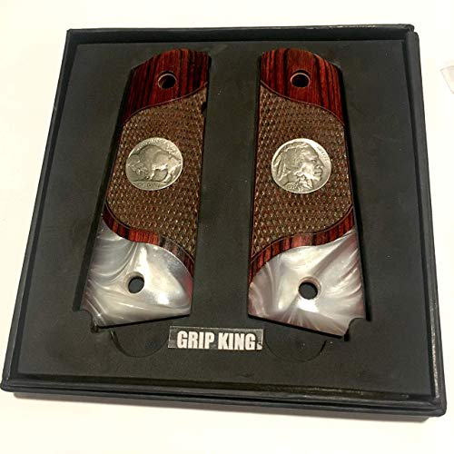 1911 GRIPS , FITS SIG,COLT,KIMBER,PARA,RUER,TAURUS,WILSON,REMINGTON,ITHACA,SPRINGFIELD,CLONES .GENUINE U.S. MINT ANTIQUE BUFFALO NICKELS FITTED IN THIS ONE. SALE $45.73