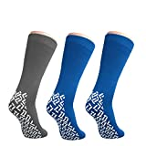 NOBLES HEALTH CARE PRODUCT SOLUTIONS Pack of 3 Pairs - XXXL Non-Skid Bariatric Extra Wide Slipper Socks for People with Swollen feet Diabetes & Edema (1 Grey 2 Royal Blue)