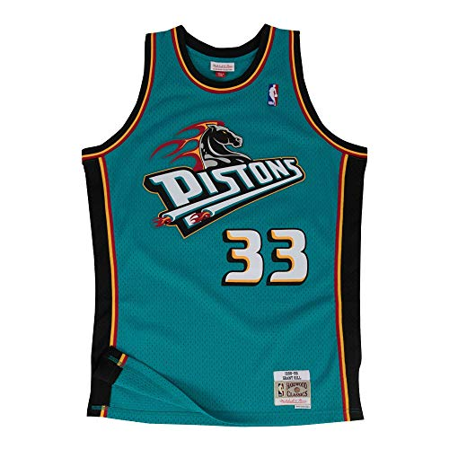 Mitchell & Ness Detroit Pistons Grant Hill 1998 Road Swingman Jersey (Medium)