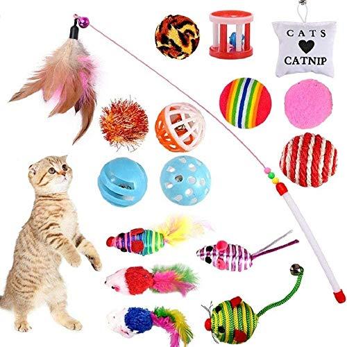 GOLDGE 16 Stück Katzenspielzeug Katze Toys Variety Spielzeug Set Federspielzeug Bälle Verschiedene Spielzeug für Katze Kitty