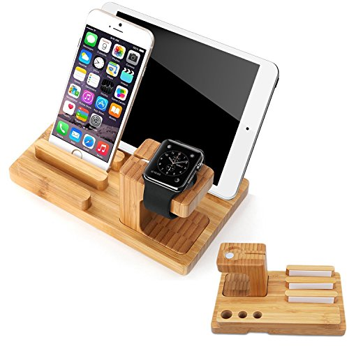 SPLAKS Apple Watch Stand , Bambù di Ricarica Docking Station per Apple Watch e Posizone 7 in 1 Supporto per Apple Watch e Docking Station per ipod iphone ipad e Altri Tablet