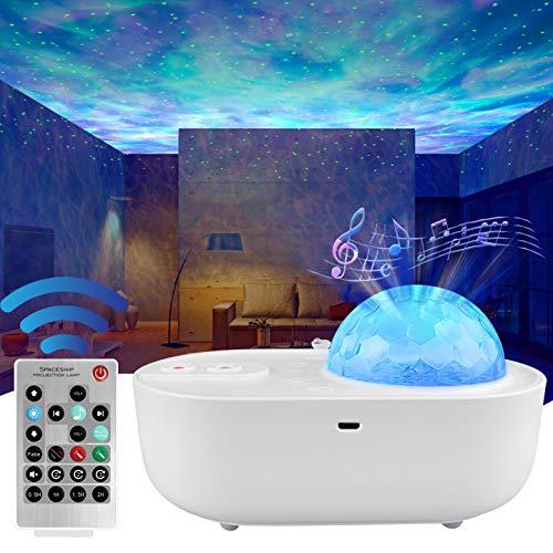 ANVAVA Proyector Estrellas Lámpara Proyector Infantil LED Luz Proyector Bebé con Control Remoto y Bluetooth Música 10 Modos Proyector Niños para Fiesta Navidad Cumpleaños Dormitorio