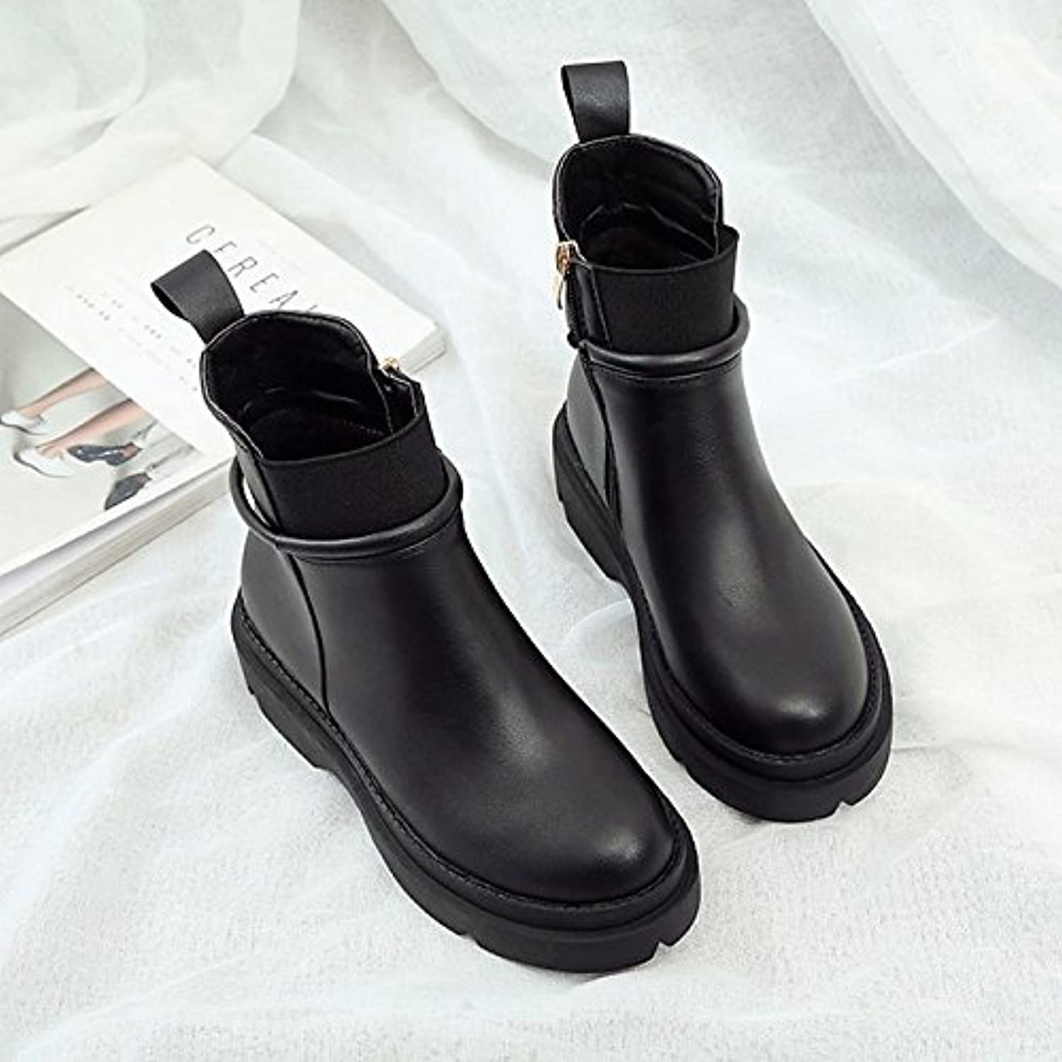 HSXZ Women's shoes PU Winter Fashion Boots Bootie Boots Platform Round Toe Booties Ankle Boots for Casual Office\Career Black