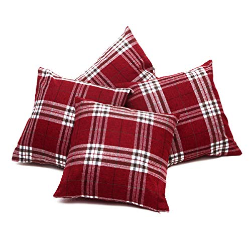 Set of 4 Red, Brown & Cream Tartan Check Cushion Covers Regular 18 inch (45 cm) or Large 22 inch (55 cm) (18' x 18')
