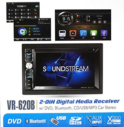 """Soundstream VR-620B Double Din in-Dash Receiver Touchscreen DVD/CD/MP3 Player 6.2"""" LCD Bluetooth USB SD 300w Amplifier 2-Din Car Stereo"""