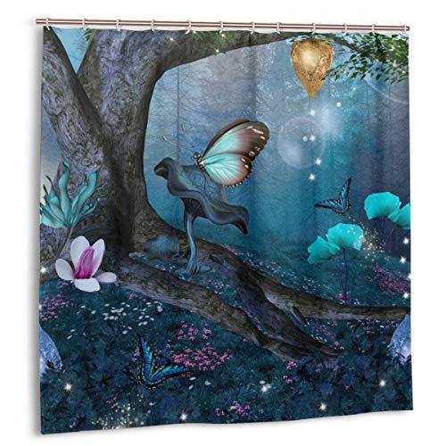 Wdoci Duschvorhang,Zauberwald mit blühenden Blumen Mystical Environment Woods,Wasserdicht Bad Vorhang mit Haken 180cmx180cm