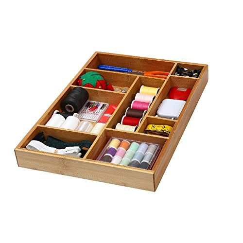 YBM HOME Bamboo Drawer Organizer with 9 Compartment Organization Tray for Sewing Craft Office Bathroom and Kitchen 337
