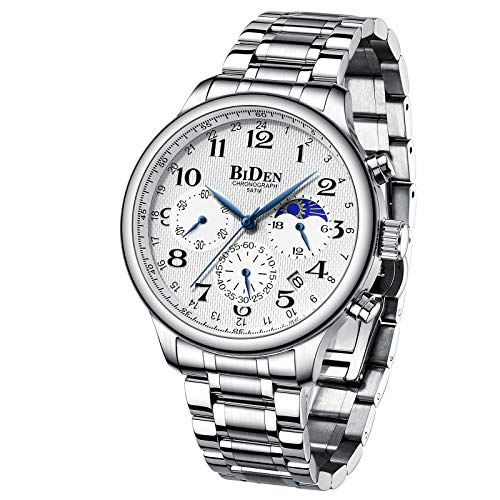 Moon Fase Watch 43mm Reloj para Hombres cronógrafo Impermeable analógico Reloj de Pulsera Reloj de Pulsera (Blanco Plateado)