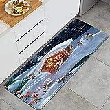RUBEITA Alfombra Lavable de Cocina,Weihnachts-Weihnachtsmann, Der auf Dach sitzt,Alfombra Antideslizante,Suave y súper Absorbente,para Puerta de Cocina,baño,47.2'x17.7'
