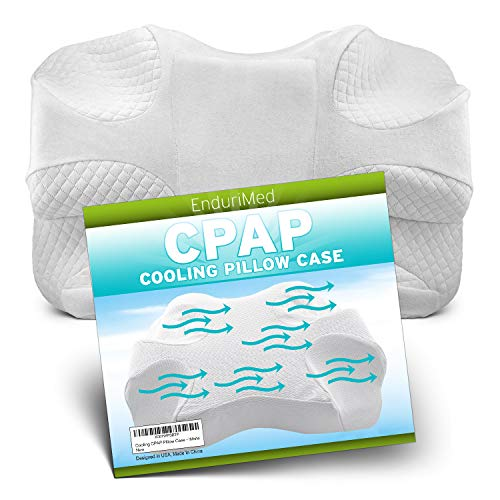 CPAP Pillow w/Extra Cooling Mesh Pillow Case (White) - Memory Foam Contour Design Reduces Face & Nasal Mask Pressure - 2 Head & Neck Rests for Max Comfort