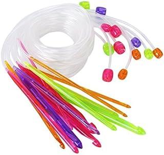 12 Tailles wINOMO crochet crochets aiguilles à tricoter en plastique tapis bis 3,5 mm avec câble 12 mm