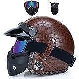 Qianliuk Cascos de Moto Abrir Cara Medio PU Cuero Casco Vintage Moto Sombrero
