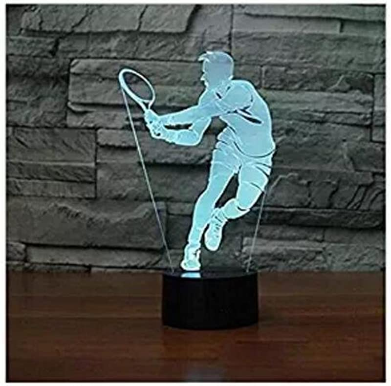 3D Tennis Night Light Touch Switch 7 Color Change LED Table Desk Lamp Acrylic Flat ABS Base USB Charger Home Decoration Toy Brithday Xmas Kid Children Gift