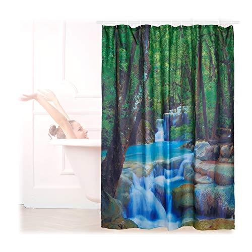 Relaxdays Duschvorhang Wasserfall, Naturmotiv-Aufdruck, waschbar, Anti-Schimmel, Badewannenvorhang HxB 200x180 cm, bunt