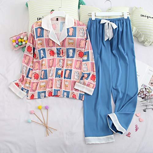 Pijama de manga larga con diseño de gato a cuadros para mujer, sexy y suelto, pijama de gasa de satén suave al tacto (color como se muestra en la figura, tamaño: XL)