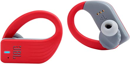 JBL ENDURANCE PEAK - True Wireless Earbuds, bluetooth sport headphones with microphone, Waterproof, up to 28 hours battery, charging case and quick charge, works with Android and Apple iOS (red)