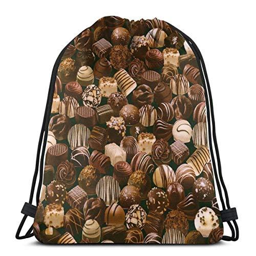 AllenPrint Sporttaschen Gymsack,Verschiedene Pralinen Kordelzug Rucksack, Hilfreiche Tragbare Umhängetaschen Für Outdoor-Reisen Sport,36x43cm