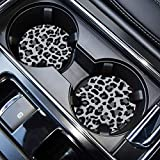 Car Coasters for Drinks Absorbent, Cute Car Coasters for Women & Man,Cup Holder Coasters for Your Car with Fingertip Grip, Auto Accessories for Women & Lady,Pack of 2 (Snow Leopard)