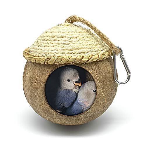 MISS FIRE Bird House with Coconut Woven Straw, Natural Coconut Bird Cage with Woven Cover,Bird Nest for Parrot, Hamster, Squirrel, Rat, Lovebird, Finches