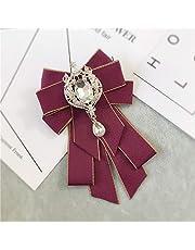 Spilla in tessuto con fiocco, con strass, per collo, cravatte, collare, cravatte, cravatte, cravatte, cravatte, gioielli regalo per donne accessori (colore metallo: 1)