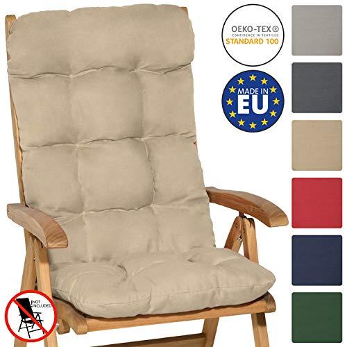 Beautissu Cuscino per Sedia a Sdraio Flair HL 120x50x8cm Extra Comfort per sedie reclinabili, spiaggine e poltrone - Beige
