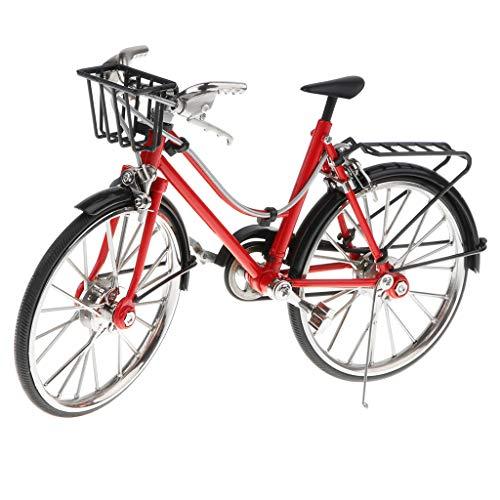 1/10 Handgemachte Miniatur Fahrrad Rennrad Mountainbike Modell aus Legierung Ornament Tischdeko Geschenke - A - Rot