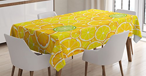 Ambesonne Yellow Decor Tablecloth, Lemon Orange Lime Citrus Round Cut Circles Big and Small Pattern, Dining Room Kitchen Rectangular Table Cover, 52 X 70 inches, Yellow White and Green