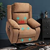 B BAIJIAWEI Power Lift Recliner Chair - Microfiber Electric Recliner for Elderly - Heated Vibration Massage Sofa for Living Room, 3 Positions, 2 Side Pockets (Brown)
