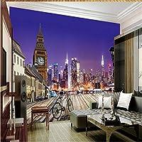 Ljjlm カスタマイズされた大規模な壁画ハイエンドシティナイト3D風景背景壁壁紙パペルデパレデ-420X280Cm