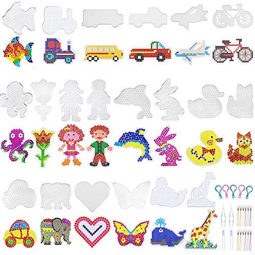 Bügelperlen Platten, 20 Stück Tier Bügelperlen Stiftplatte, Bügelperlen Vorlagen Steckplatten mit Perlen Pinzette für Kinder Bastelbedarf