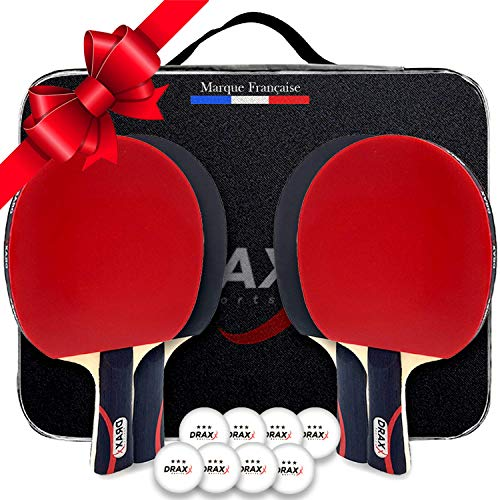 DRAXX Sports Raquette de Ping Pong | Set Tennis de Table kit 4 Joueurs Sacoche de Protection | 8 balles | Jeu sur Tables exterieure Enfant Adulte idée Cadeau Noel Housse Couleur Carbon Pochette Pro
