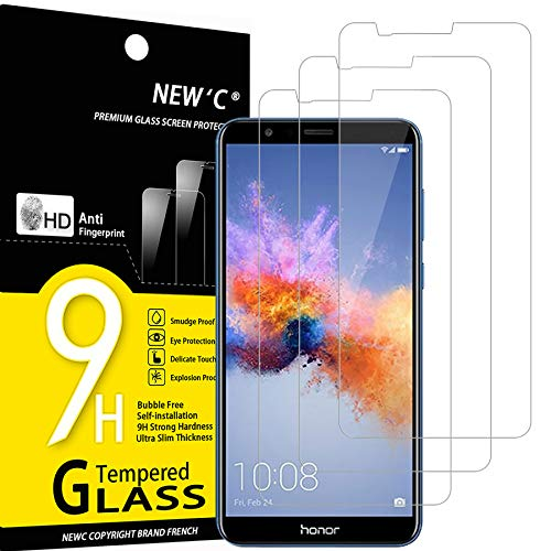 NEW'C 3 Stück, Schutzfolie Panzerglas für Honor 7X, Frei von Kratzern, 9H Festigkeit, HD Bildschirmschutzfolie, 0.33mm Ultra-klar, Ultrawiderstandsfähig