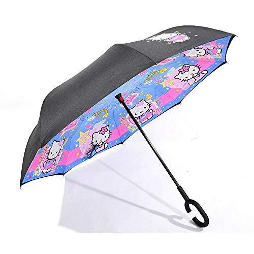 MVBGLK Paraguas de Manos Libres de Dibujos Animados reversa de Doble Capa Paraguas de Mango Largo Paraguas publicitario @ Doraemon