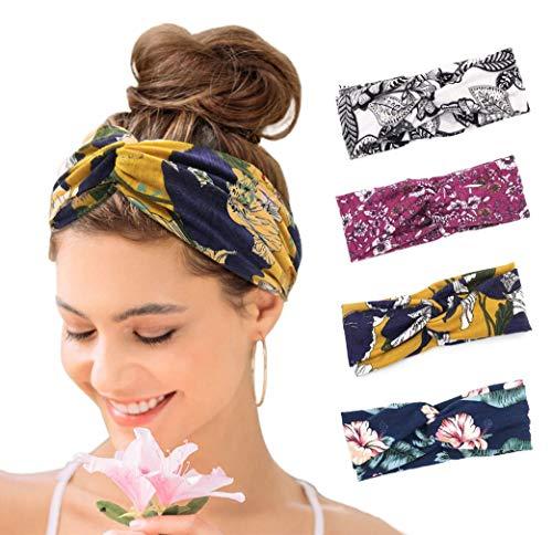 KAVYA 4er Boho Stirnband Damen Kopfband Haarband Turban Elastische Weiche Bohmisches Stirnband Blume Muster bedruckt Verdreht Baumwolle für Alltag Yoga Sport Fitness