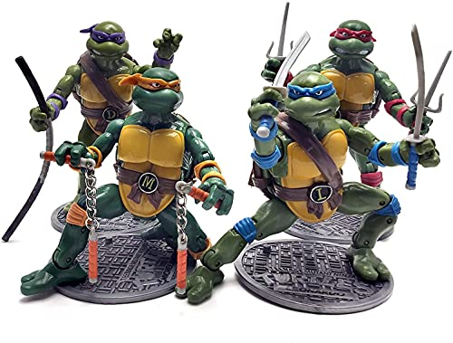 4 Turtles Official Figuarts Teenage Mutant Ninja Turtles Action Figures - TMNT Action Figures 1988 Nostalgic Classic Model – Set of 4 Ninja Turtles Retro Action Figures (6.5 Inches)