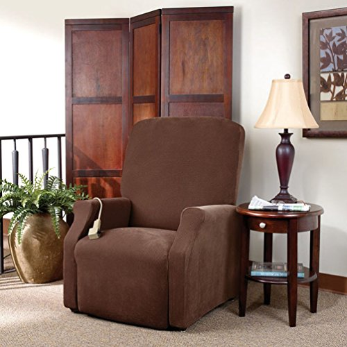 Sure Fit Pique Box Cushion Large Size Lift Recliner Chair One Piece Slipcover, Stretch Form Fit, Polyester/Spandex, Machine Washable, Chocolate Color
