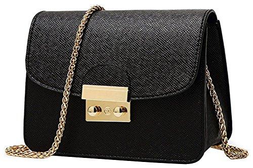 Honeymall Kleine Damentasche Umhängetasche Citytasche Schultertasche Handtasche Elegant Retro Vintage Tasche Kette Band(Schwarz)