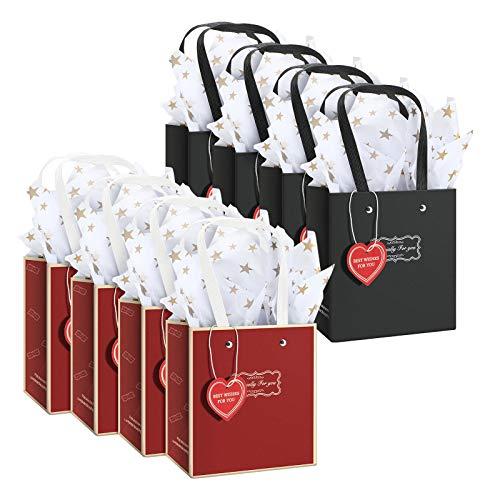 8 Bolsas de Papel del Día de San Valentín en Rojo y Negro con Etiquetas en Forma de Corazón y 8 Papel de Envolver de Estrella para San Valentín Cumpleaños Boda Aniversario Fiesta